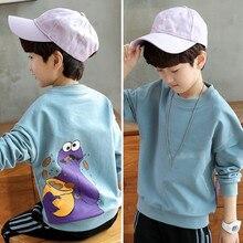 Детская одежда, новая весенне-осенняя футболка с длинными рукавами и круглым вырезом для мальчиков, одежда