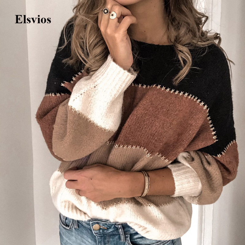 Elsvios Autumn Women Long Sleeve Sweater Winter Warm O Neck Pullover Tops Casual Patchwork Knitted Sweater Jumper Pull Femme 3XL