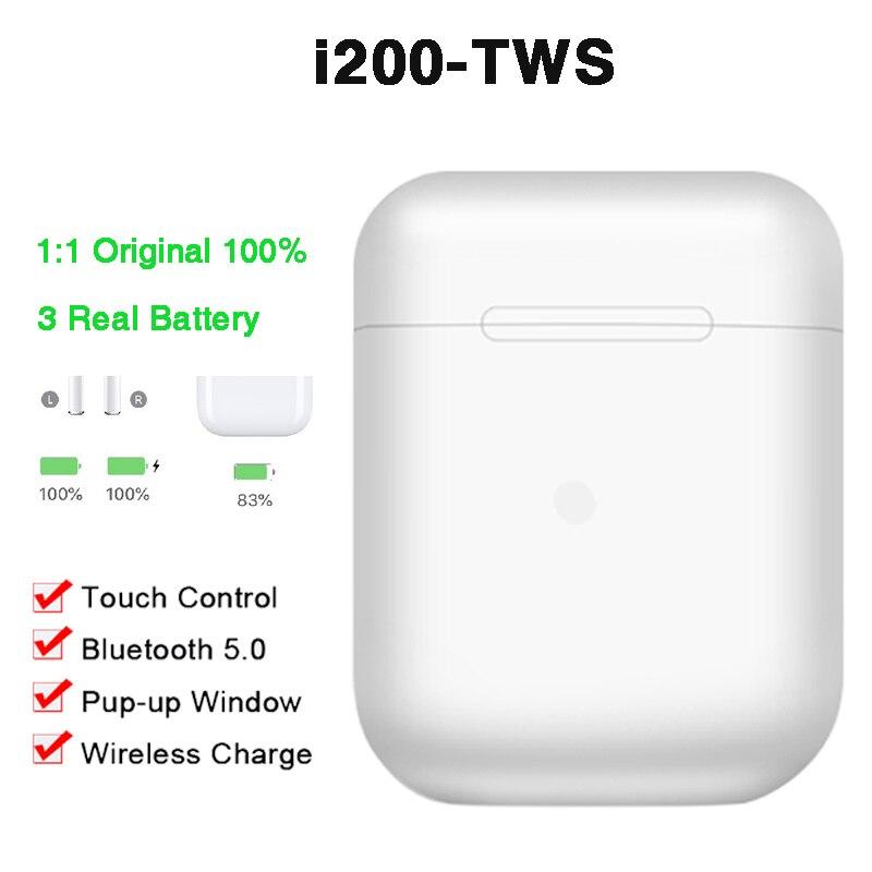 Original i200 Pop-up TWS écouteur 1:1 Air2 Bluetooth QI écouteurs de charge sans fil capteur intelligent écouteur PK i60 i80 i500 i100
