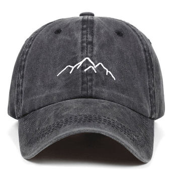 Mens Womens Baseball Caps Adjustable Washed Dad Hats Bone Garros 2021 New Mountain Range Embroidery Cotton image