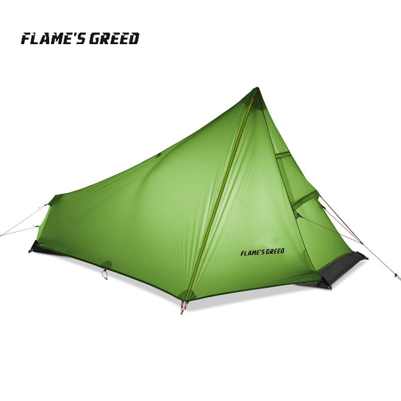 FLAME'S CREED 3 Season 1 Person Tents Ultralight Hiking Camping Tent Outdoor 15D Nylon  Rodless