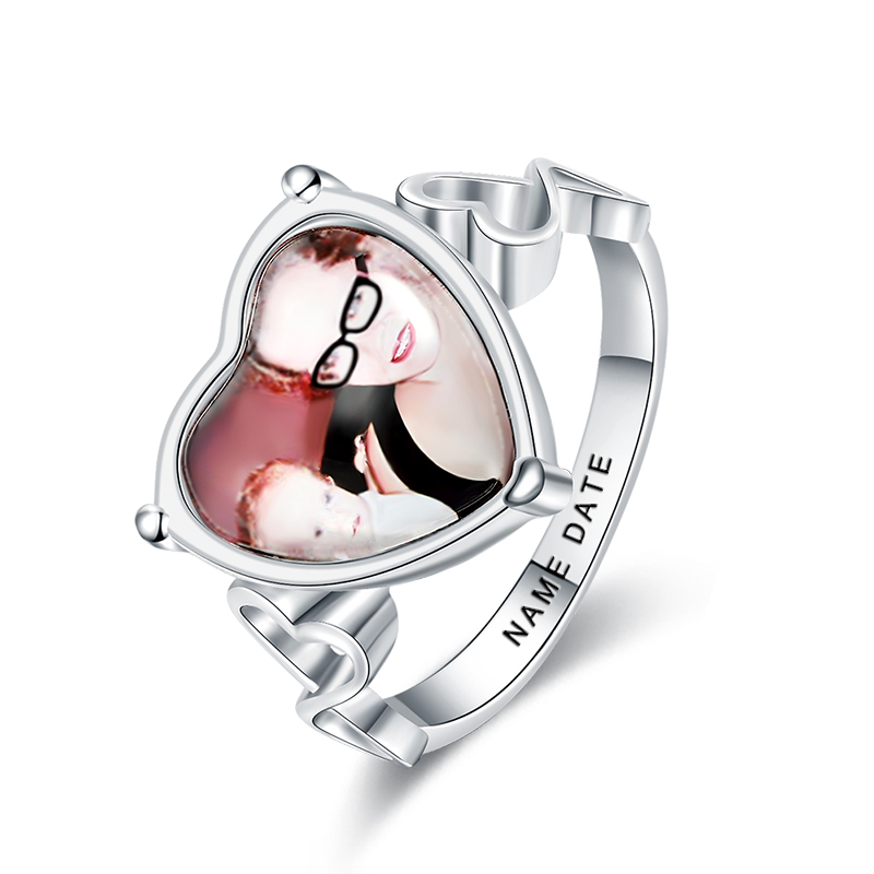 XiaoJing Engraved Heart Shaped Wedding Photo Rings 925 Sterling Silver customizable Ring Unique Anniversary Gift Free shipping