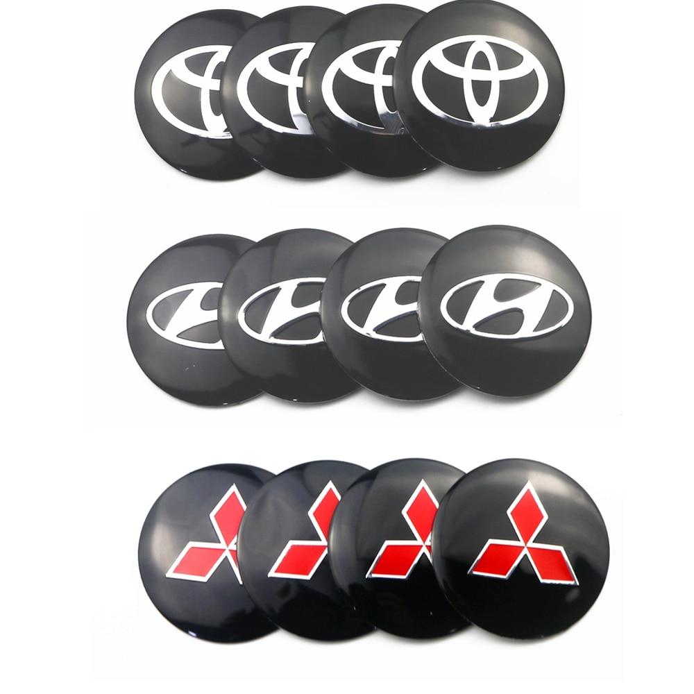 4pcs/lot 56.5mm For Kia Renault Suzuki Hyundai Toyota Mitsubishi Citroen Peugeot Car Wheel Hub Core LOGO Emblem Car Sticker