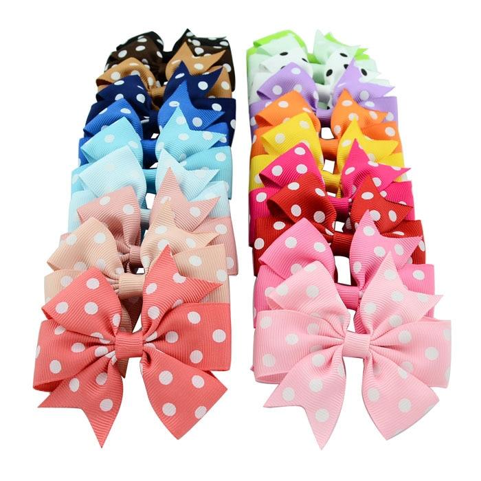 Baby Girls Hiarpins Hair Clips Grosgrain Ribbon Polka Dot Bows With Accessories Bow Barrette Headwear 20 Colors