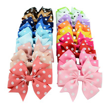 Baby Girls Hiarpins Hair Clips Grosgrain Ribbon Polka Dot Bows With Clips Hair Accessories Baby Bow Barrette Headwear 20 Colors цена