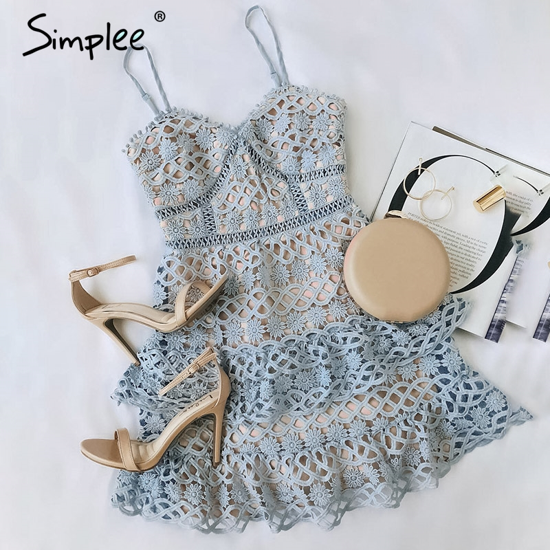 Simplee Sexy V-neck Embroidery Women Dress Spaghetti Strap Hollow Out Ruffled Summer Dress Elegant Party Mini Dress Vestidos