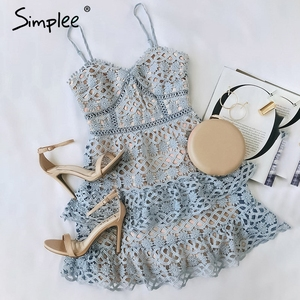Image 5 - Simplee sexy decote em v bordado mulheres vestido, de alça espaguete oco plissado verão vestido elegante festa mini vestido