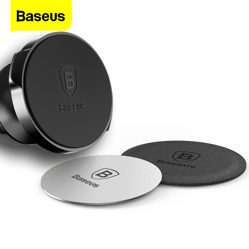Baseus Magnetic Disk For Car Phone Holder 2 Pieces Use Magnet Mount Mobile Phone Holder Stand Metal & Leather Iron Sheets Plate