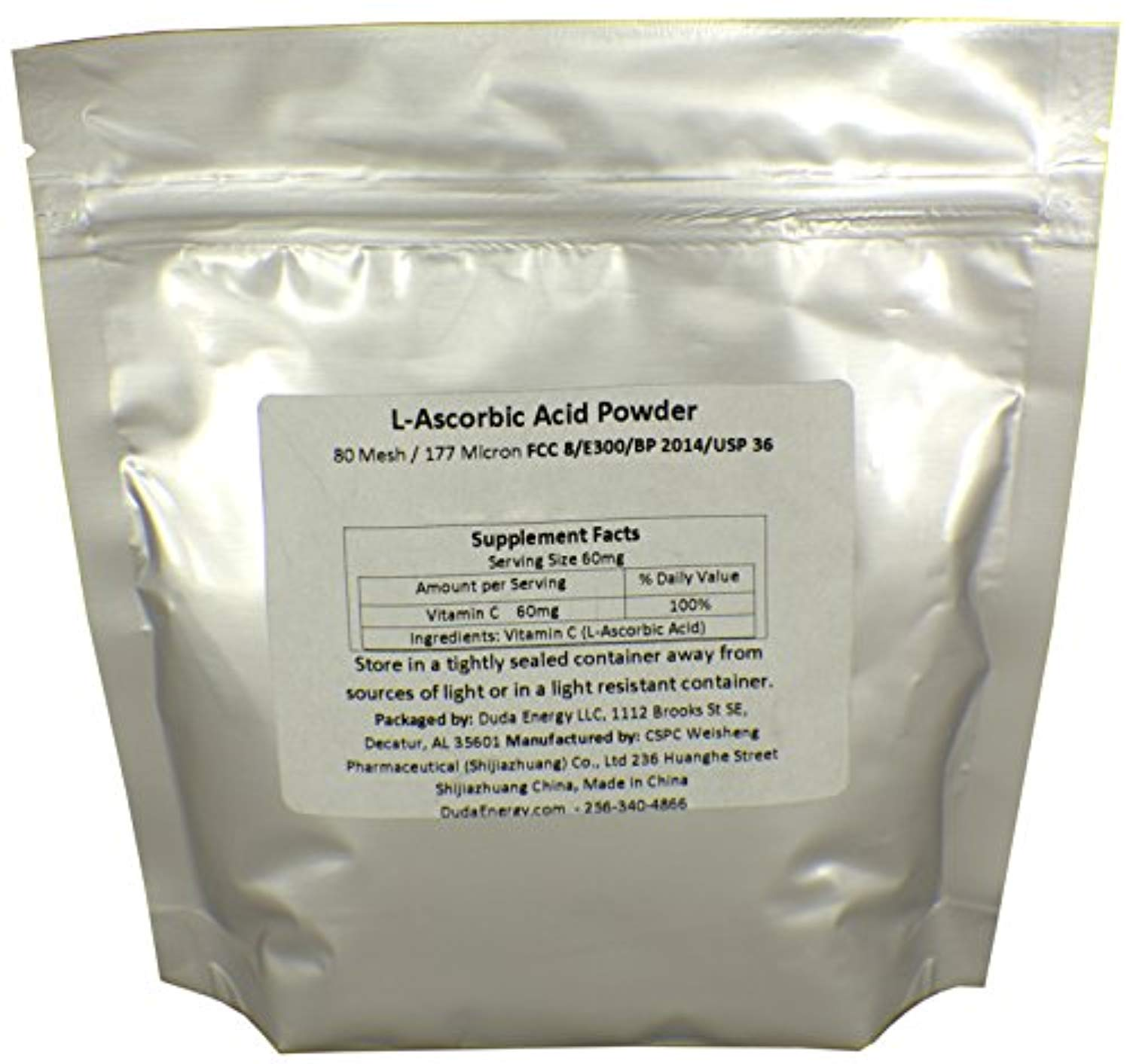 Bag of L-Ascorbic Acid Powder 99+% USP36/BP2012 Naturally Fermented Pure White Crystals Form of Vitamin C, 1 lb. image