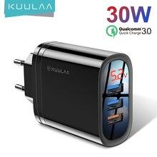 KUULAA Quick Charge 3 USB Charger 30W QC 3.0 Fast ChargingจอแสดงผลLED Usbปลั๊กชาร์จโทรศัพท์US EU UKสำหรับiPhone Xiaomi