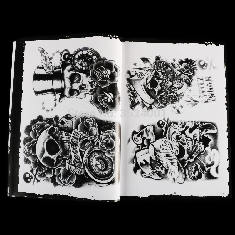 Image 5 - Newst 76 Pages A4 Tattoo Book Black Sexy Skull Design Sketch Flash Book Tattoo Flash Sketchbook Free Shipping B5-in Tattoo accesories from Beauty & Health