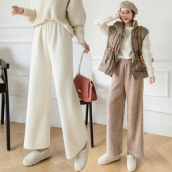 Mink wool knitted wide-leg pants women's fashion 2020 autumn and winter straight high-waist loose trousers Korean thick pants