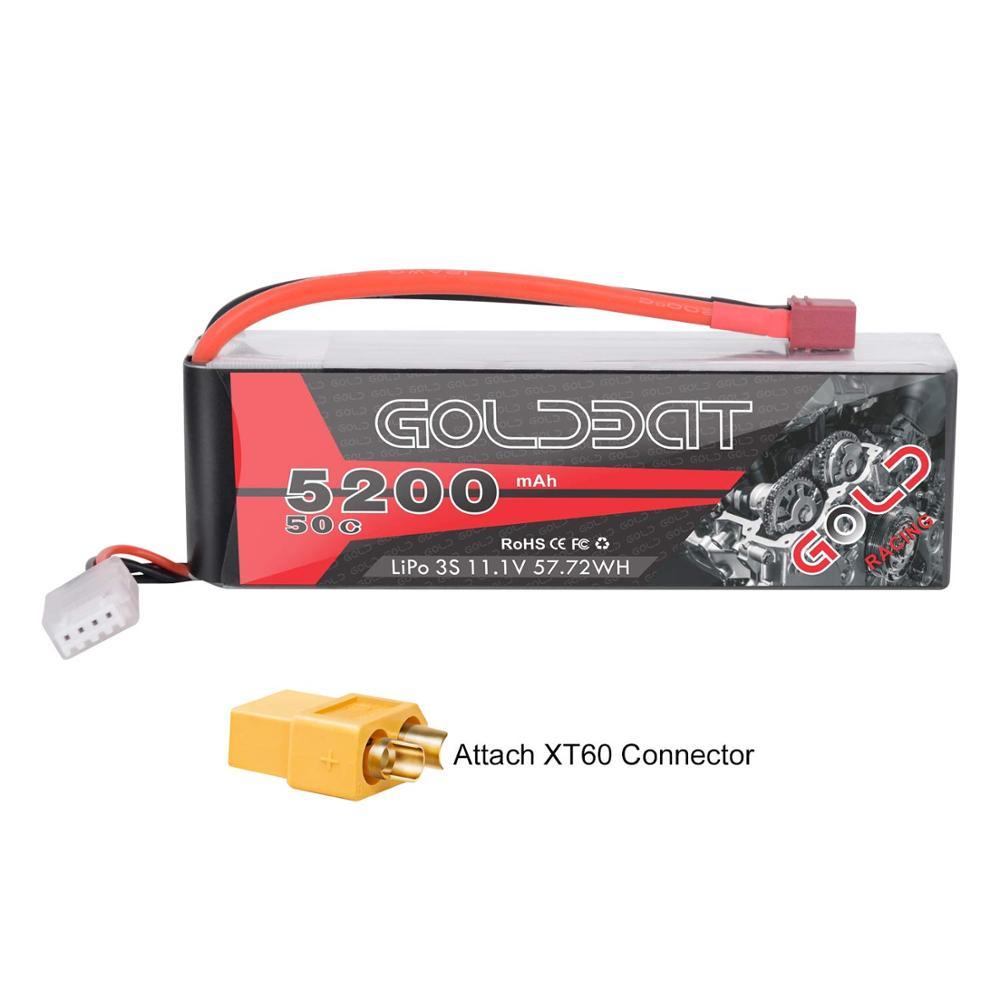 GOLDBAT 3S 5200mAh 11,1 V 50C LiPo RC batería con enchufe Deans y conector XT60 para RC Evader BX coche RC camión RC helicóptero avión GTFDR 2 uds batería lipo 2S 3S 7,4 V 10000mah 8400 9300mah 110C 220C 130C 260C 60C 120C HV 3S 11,4 mah 5200 V 20C para QRX350 RC Coche