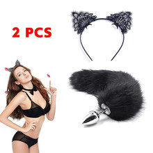 Sex Toys Black Fox Anal Plug Tail Butt Plug BDSM Flirt Anus Plug Dildo Cat Tails Erotic Cosplay Adult Sex Toys For Women Couple(China)