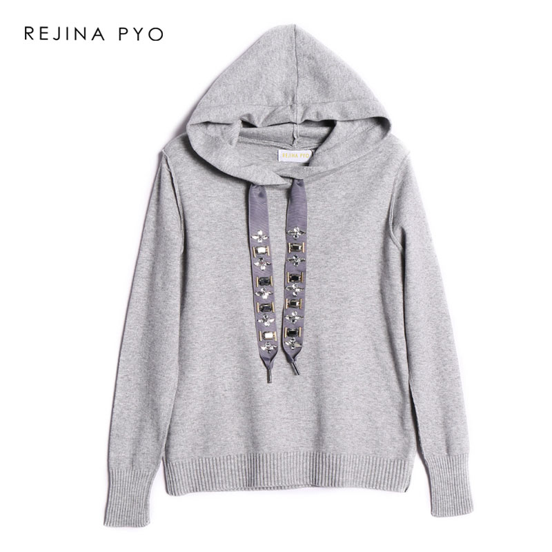 REJINAPYO Women European Style Casual Stretching Loose Hooded Sweatshirt Rhinestone Patchwrok Lace-up Hoodies New Arrival