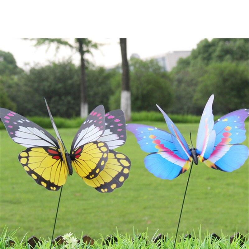 5pcs/lot 7*25cm Colorful Double-layer Design Simulation Butterfly Pin Outdoor Decor Flower Pots Decoration