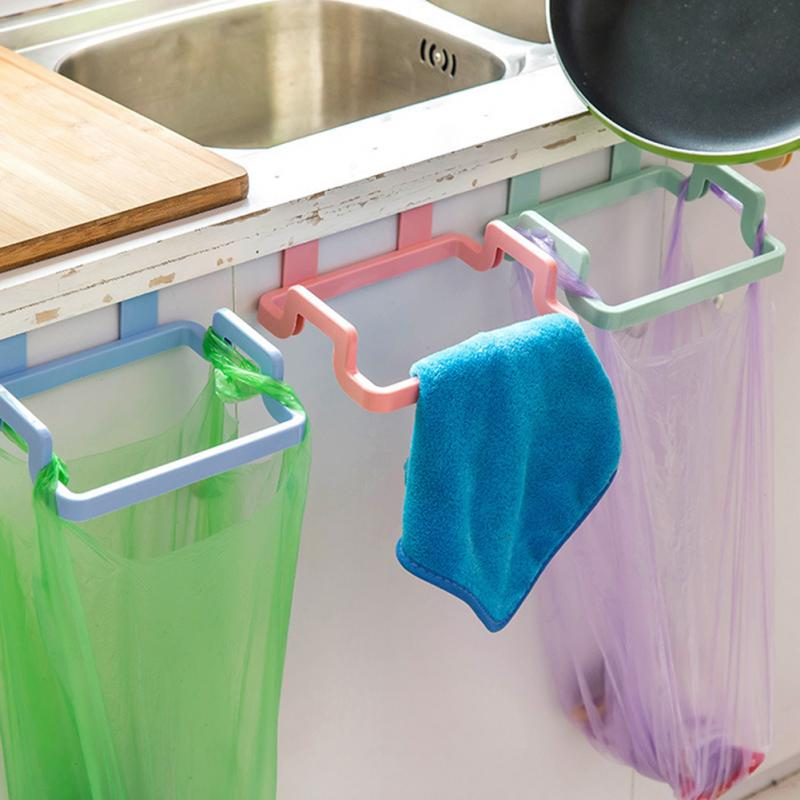 Portable Garbage Hanging Bag Kitchen Trash Storage Rack Bag Plastic Hook Scouring Pad Dry Shelf Holder Kitchen Organzier