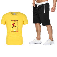 2021 latest embossed men's short-sleeved T+ shorts loose trendy clothes, a handsome summer outfit