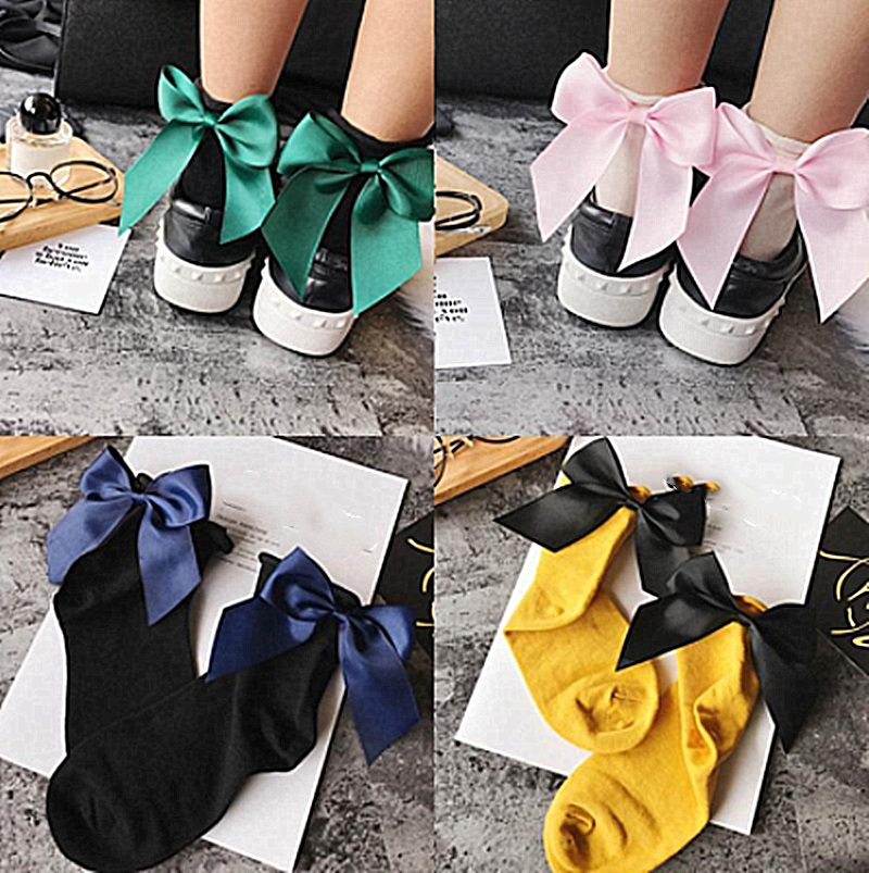 Fashion Soft Cotton Women Socks Top Quality Solid Color Cute Socks Sweet Princess Girl Cozy Heel Ribbon Big Bow Short Socks