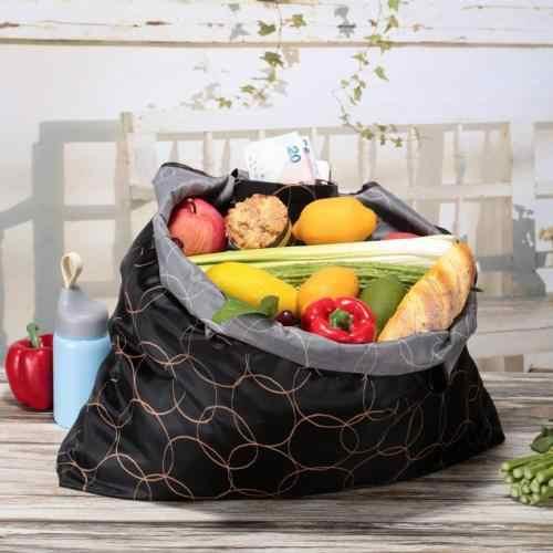 재활용 스토리지 식료품 접이식 핸디 쇼핑백 재사용 가능한 토트 파우치 핸드백