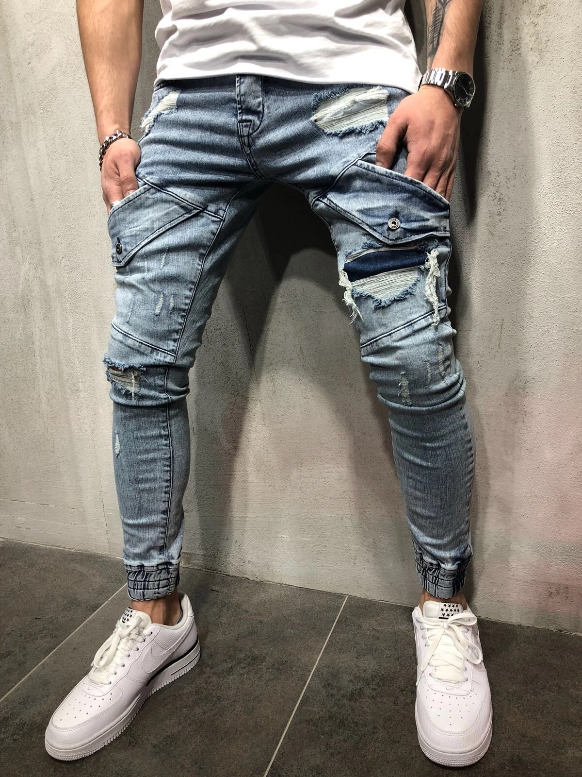 New Style With Holes MEN'S Jeans Slim Fit Zipper Retro Beam Leg Skinny Pants Fashion Man Jeans