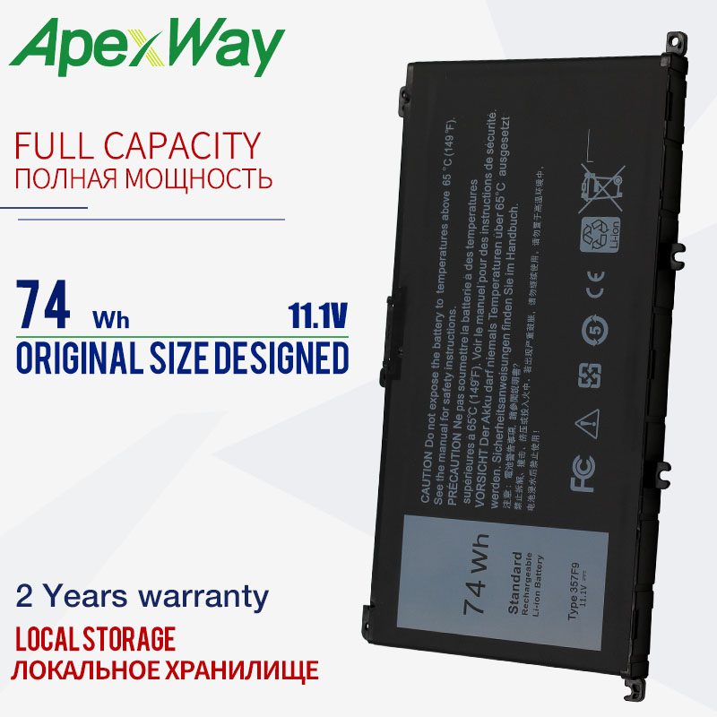 Apexway 11.1V 74WH 357F9 Laptop Battery for <font><b>Dell</b></font> <font><b>Inspiron</b></font> <font><b>15</b></font> <font><b>7000</b></font> 7559 INS15PD-1548B INS15PD-1548R INS15PD-1748B INS15PD-1748R image