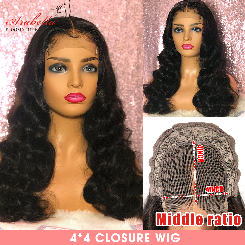 Closure Wig 180% Density Remy Body Wave Wig With Baby Hair Middle Ratio Arabella Pre Plucked 4*4 Lace Closure Human Hair Wigs