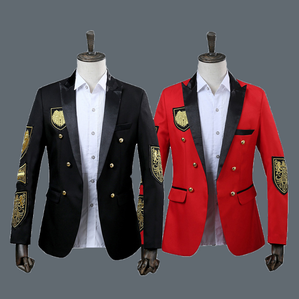 Men Blazer Military Medal Loose Coat Stage Singer Suit Jacket Annual Performance Black Red Costume Homme DT1494