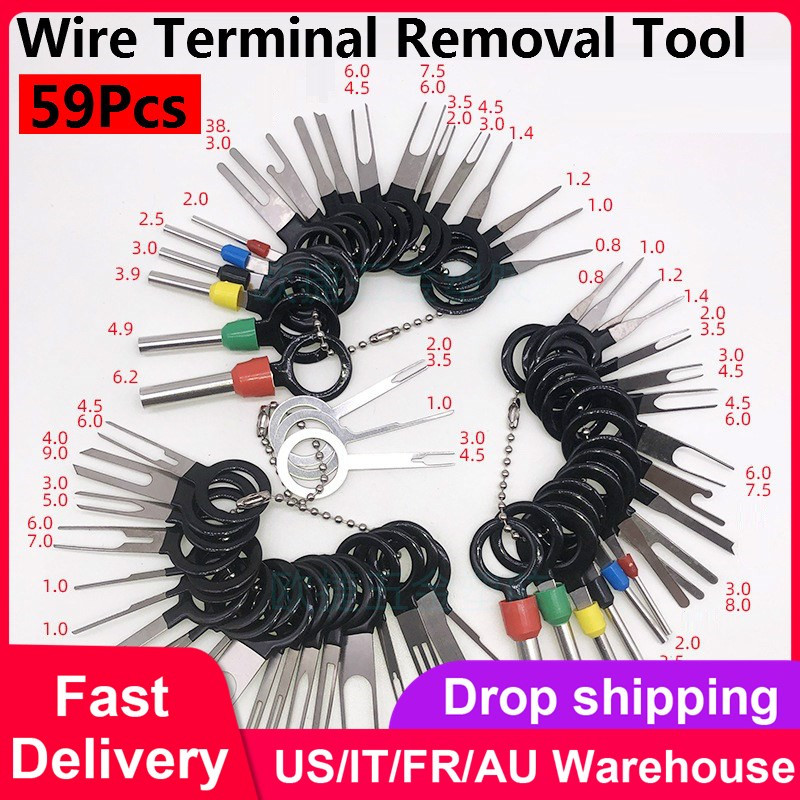 59Pcs Car Terminal Removal Kit Wiring Crimp Connector Pin Extractor Puller Wire Terminal Removal Tool Repair Professional Tools