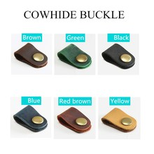 Cowhide Hub Headphone Cable Buckle Storage Buckle Gift Winder Leather 1pcs