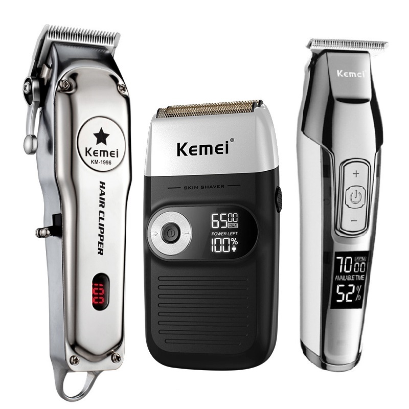 Kemei All Metal Professional Electric Hair Clipper Rechargeable Hair Trimmer Haircut Shaving Machine Kit KM 1996/2026/5027/2024