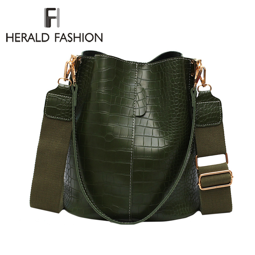Herald Fashion Women Alligator Shoulder Bag Big Capacity Hand Bag Vintage Design Ladies Shopping Bags PU Leather Bucket Handbag