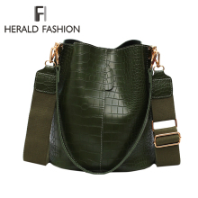 Herald Fashion Women Alligator Shoulder Bag Big capacity Hand Vintage Design Ladies Shopping Bags PU Leather Bucket Handbag