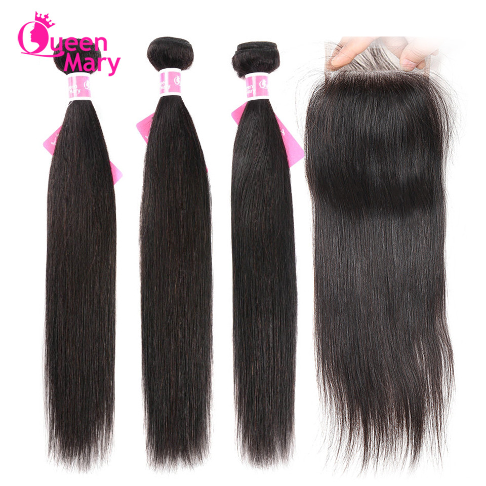 Brazilian Straight Hair Bundles With Closure 3 Bundles With Closure Human Hair Bundles With Closure Queen Mary Non Remy Hair