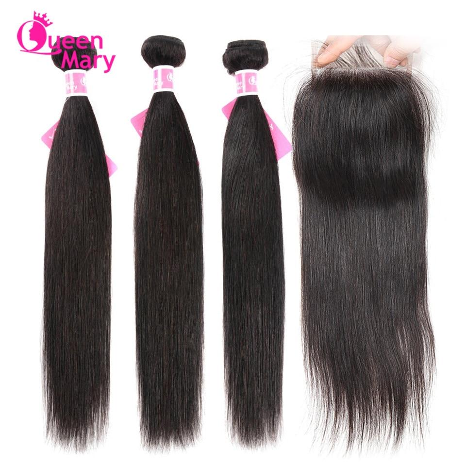 Brazilian Straight Hair Bundles With Closure 3 Bundles With Closure Human Hair Bundles with Closure Queen Innrech Market.com