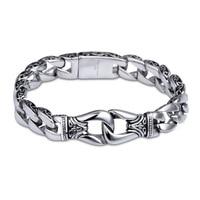 WAWFROK Mens Fashion Stainless Steel Bangles Bracelets Silver Color Vintage Charm Bracelets for Men 21cm Length Chain Bangles