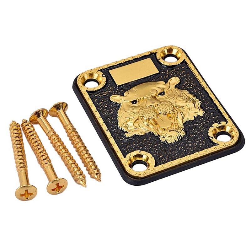 TOP!-Guitar Metal Neck Plates Zinc Alloy Tiger Head Guitar Neck Reinforcing Plate With 4 Screws For Strat Tele Electric Guitar R