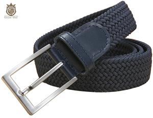 Image 2 - Cinturones elásticos trenzados de alta calidad para hombre, de metal cepillado Hebilla, marrón, Beige, azul y negro