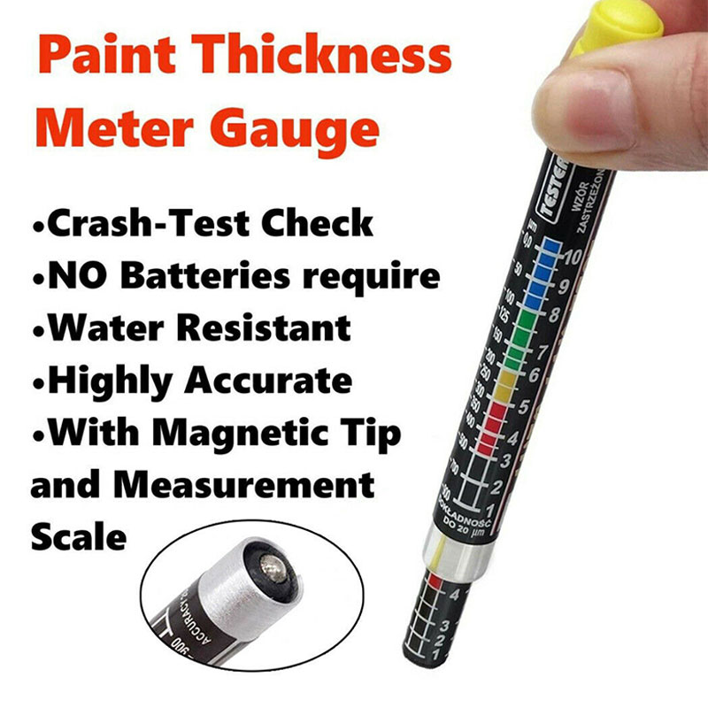 Car Paint Thickness Gauge Tester Meter Gauge Crash Check Test Lacquer Tester With Magnetic Tip Scale Indicate