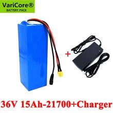 VariCore-Batería de alta potencia para bicicleta eléctrica, 36V, 15Ah, 21700, 10S3P, 500W, 42V, 15000mAh, BMS y cargador 2A