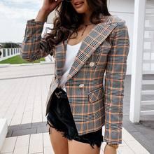 Модная новинка 2020 Женское пальто двубортная клетчатая блузка