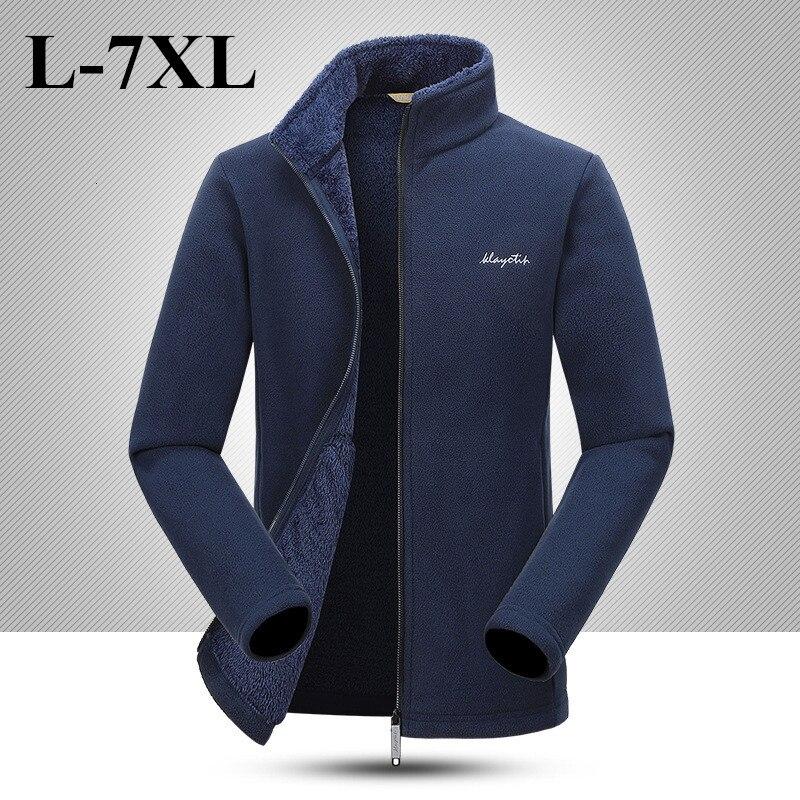 7XL Plus Size Mens Warm Fleece Jacket Autumn Winter Outdoor Hiking Riding Climbing Thermal Windproof Coat Cardigan Tops Liner