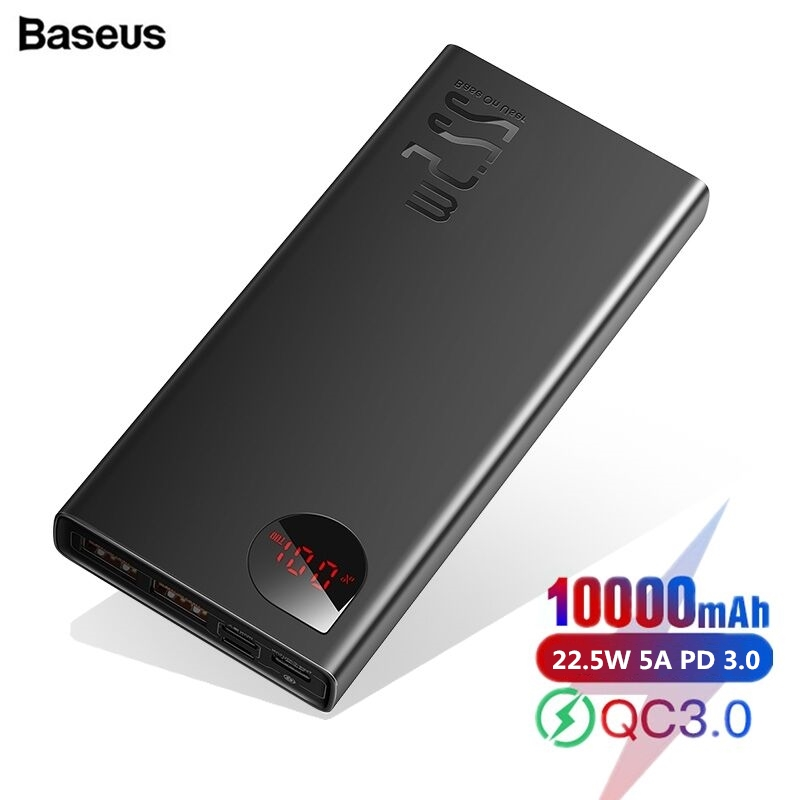 Baseus Power Bank 10000mAh USB Type C PD Fast Charging + Quick Charge 3.0 PowerBank 10000 mAh External Battery For Xiaomi iPhone