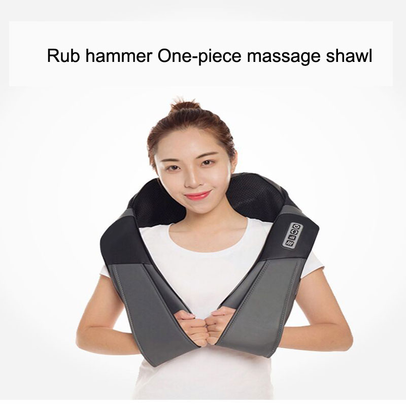 Shoulder Neck Massager Neck Multi-Function Kneading Shawl Waist Beaten Heating Home 12V PU Leather Hot Compress