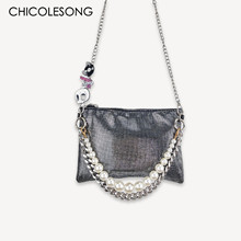 Punk Hip-Hop Fashion Designer Crossbody Bags 2021 New Pearl Metal Skeleton Evening Clutch Women 's Bag Wallet Free Shipping