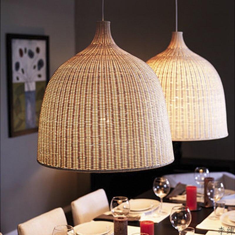 Modern Pendant Lights Hand Woven Rattan Hanging Pendant Lamps Restaurant Kitchen Fixture Industrial Lighting Art Decor Luminaire