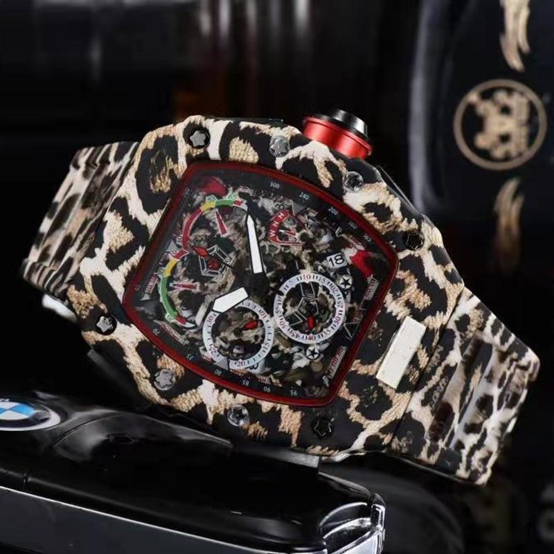 aço inoxidável 6pin segundos borracha pulseira relógio masculino relogio masculino