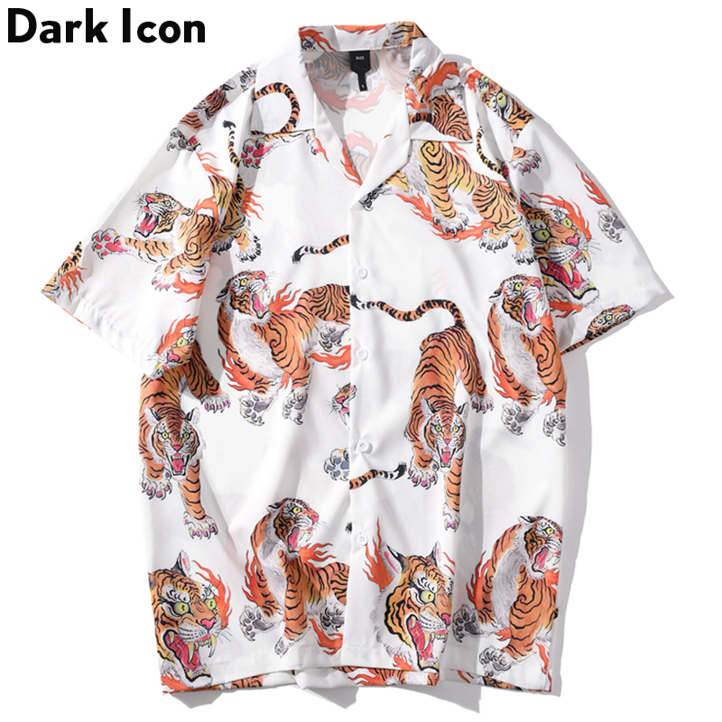 Dark Icon Tiger Full Print Hip Hop Shirt Men Women 2020 Summer Streetwear Men's Shirt Casual Shirts for Men