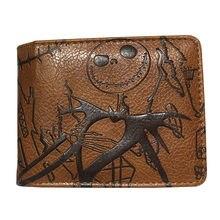 Jack dos desenhos animados impresso em relevo bolsa de couro pesadelo antes do natal carteira com zíper moeda bolso cartão de crédito slot carteiras