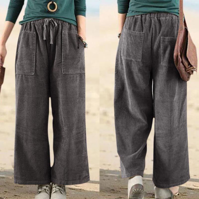 Plus Size Turnip Corduroy Trousers ZANZEA 2020 Women's Wide Leg Pants Elastic Waist Cropped Pantalon Female Casual Palazzo